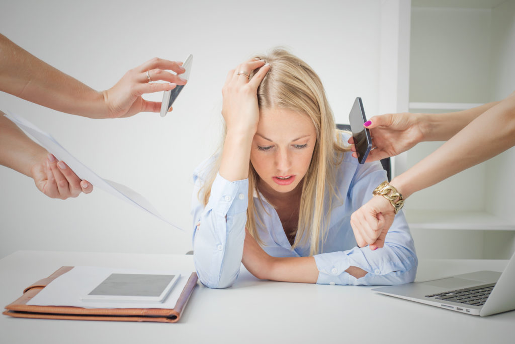 Woman Tired at Work and Overloading with Work