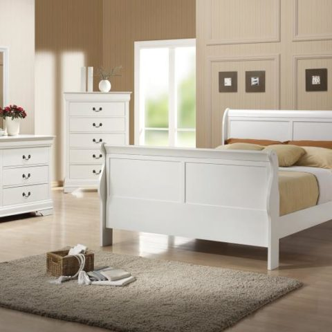 Louis Philippe White 3-Piece Queen Set