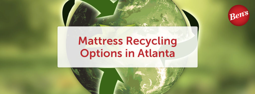 "Green globe with recycling arrows swirling around it under the text ""Mattress Recycling Options in Atlanta"""