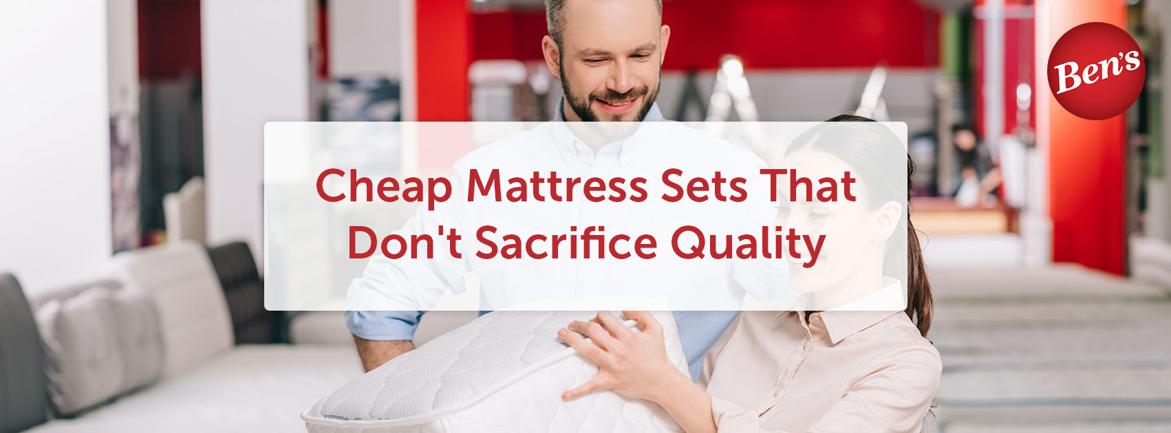 Woman shopping for mattress sets in a retail store.