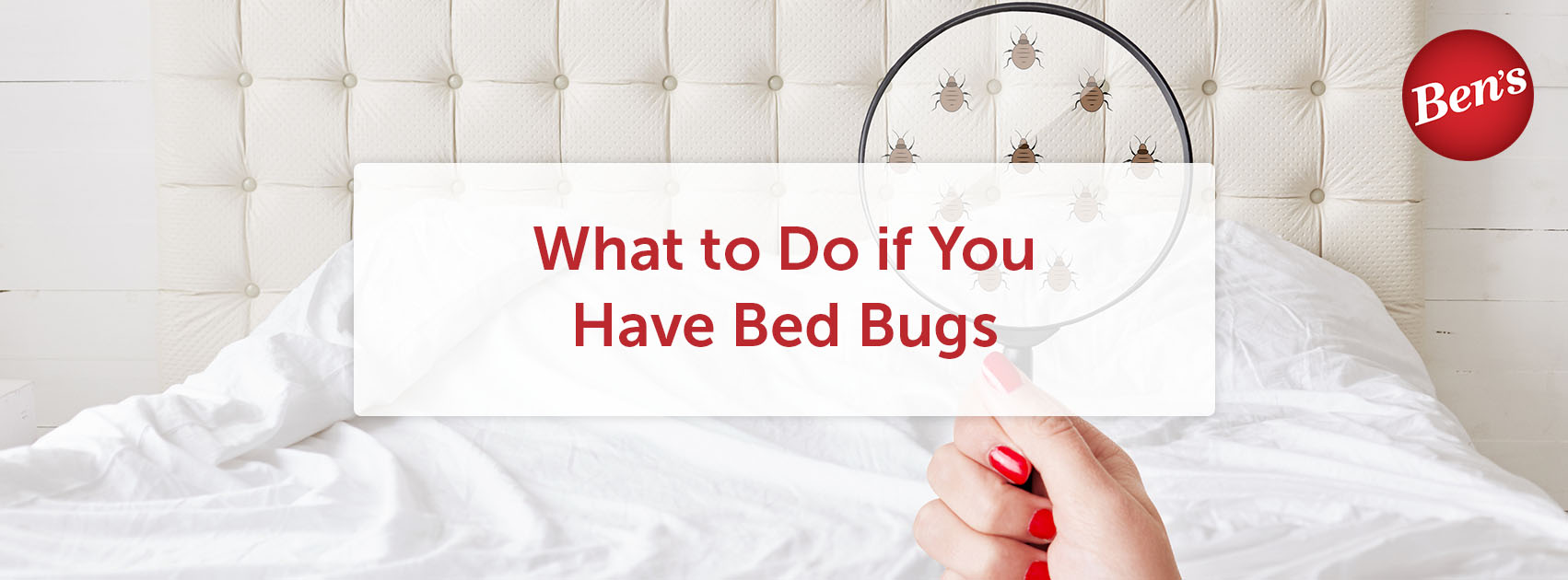 Woman using a magnifying glass to look for bed bugs.